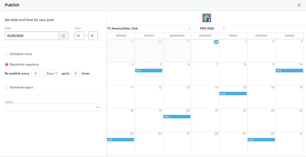 publish content repeatedly on social media scheduler