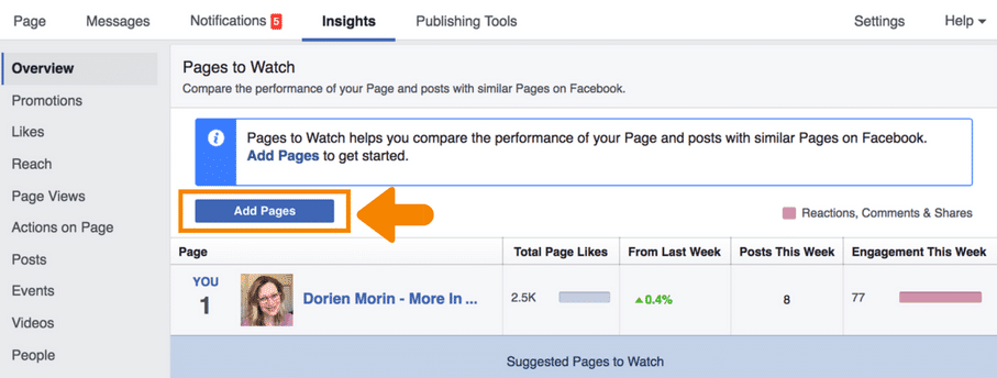 How to Add Pages to the Facebook Feature 'Pages to Watch'