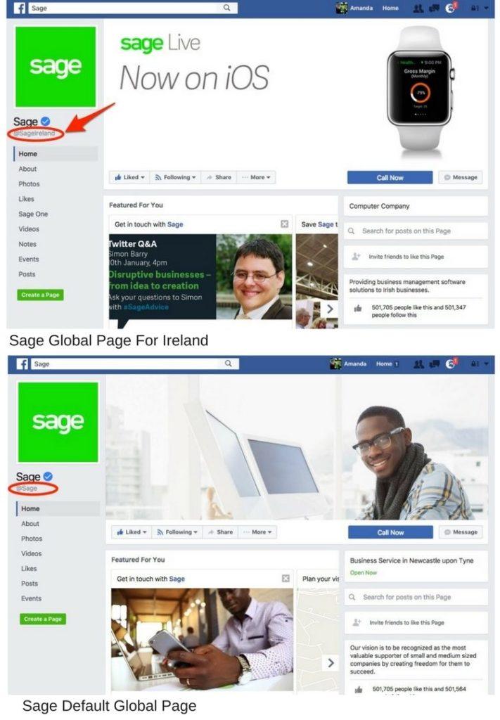 sage Facebook global pages
