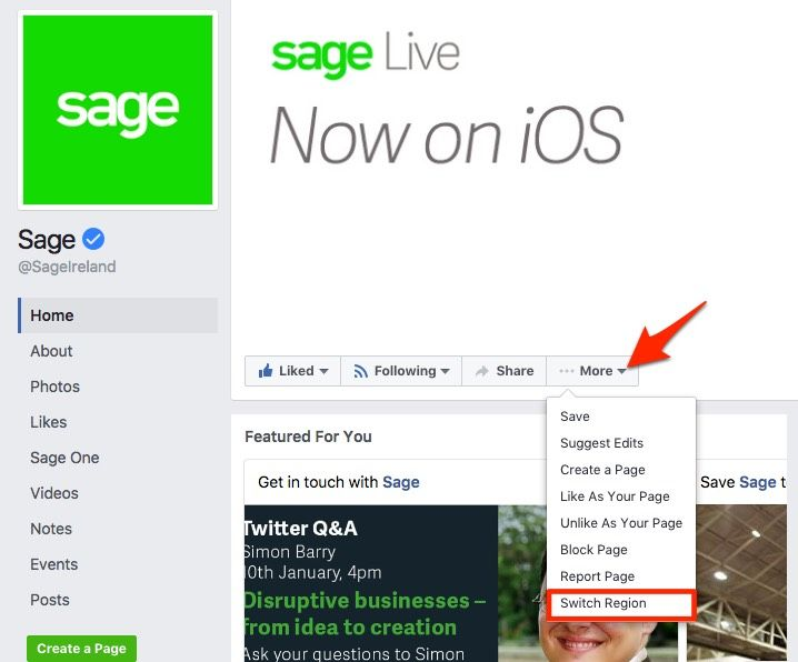 Facebook global pages switch region