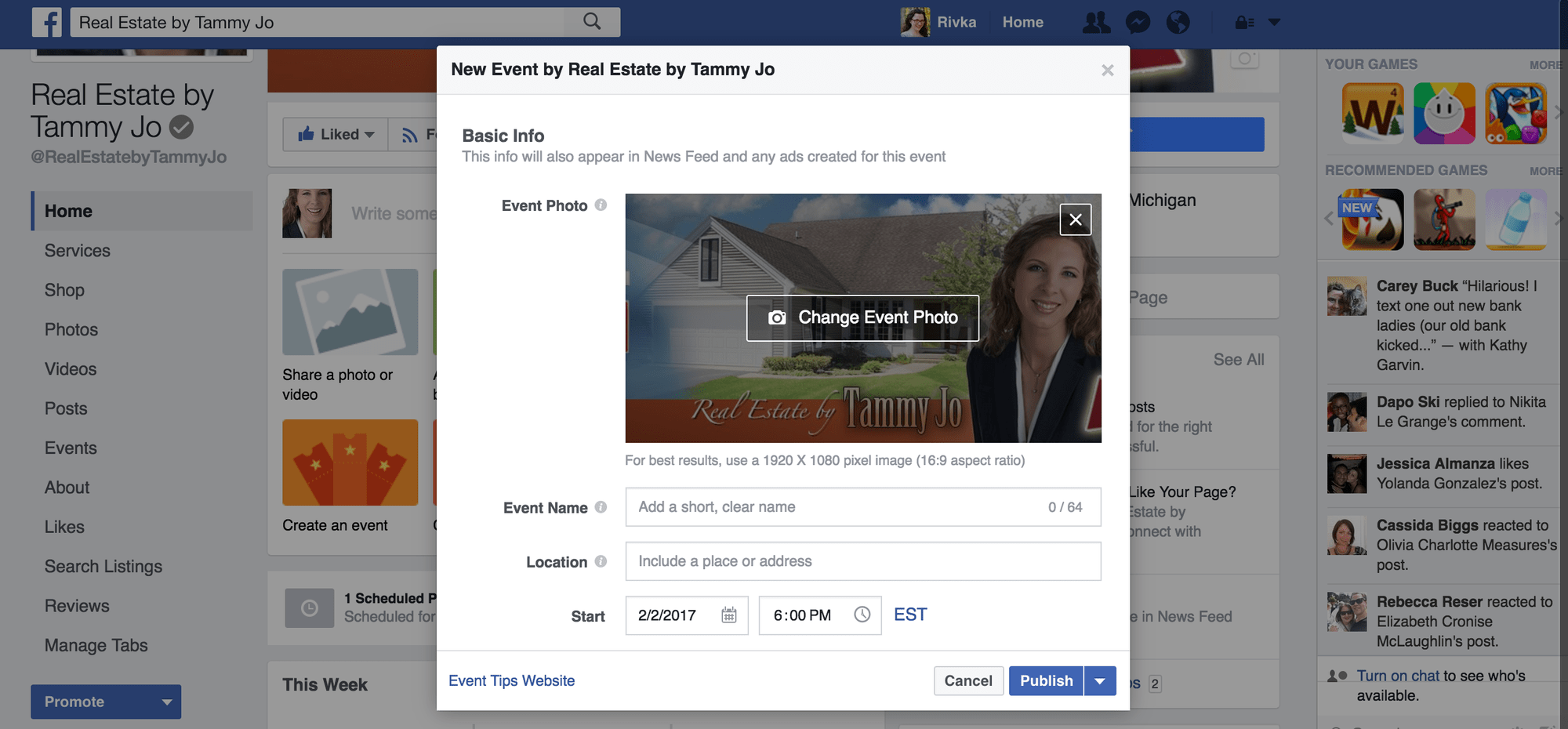 New Facebook Post Type to Create an event