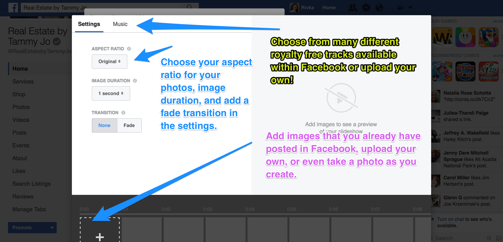 How to create a photo slideshow in Facebook's new post options