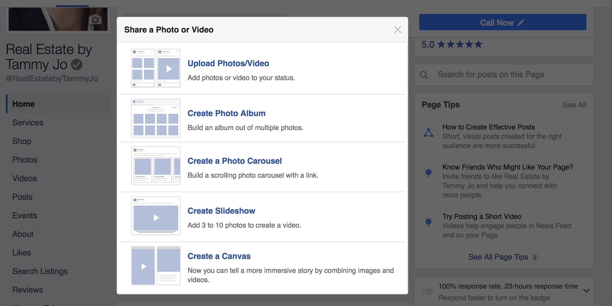 Facebook Options for Sharing Photos or Videos on your business page