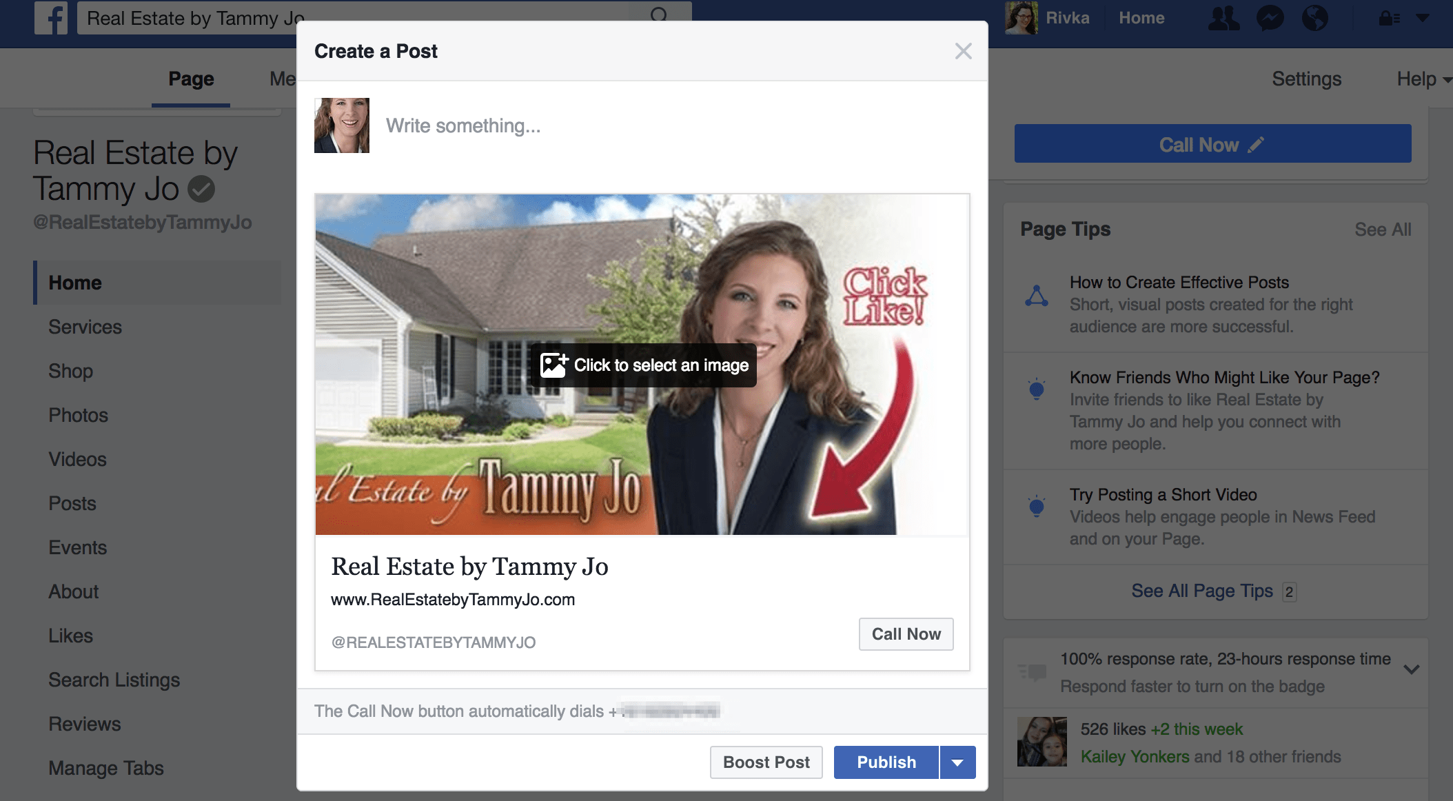 How to get phone calls from Facebook post options