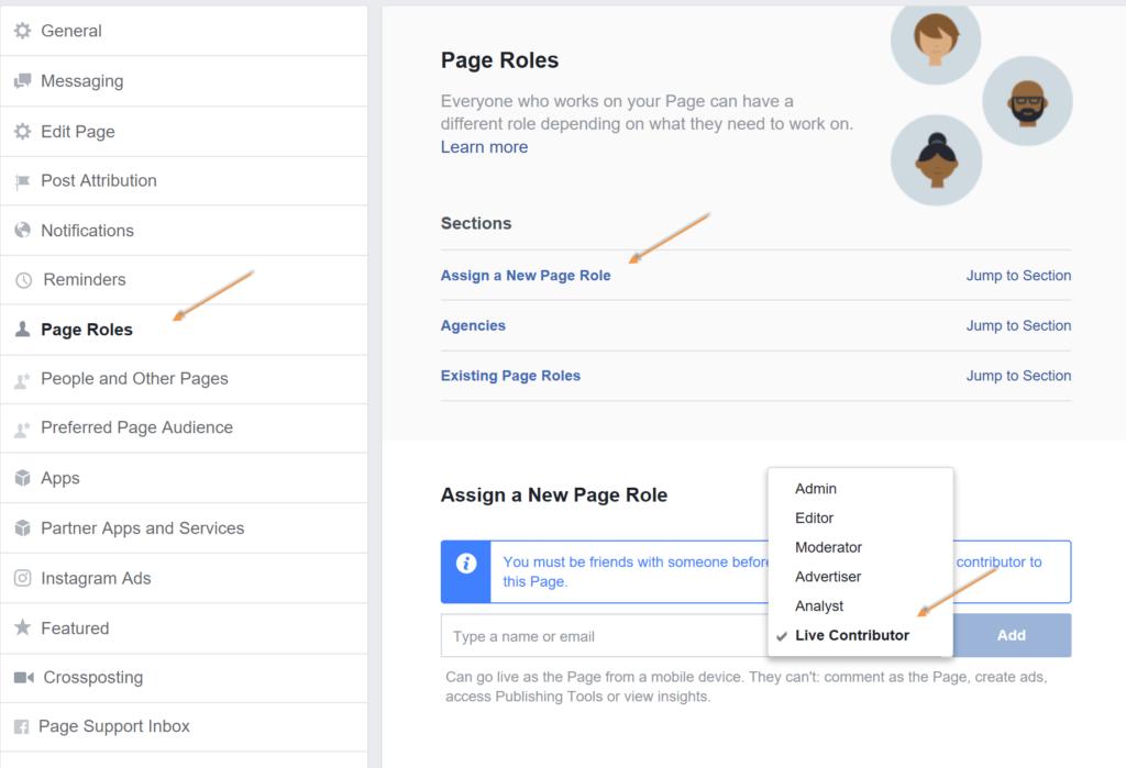 facebook live contributor settings