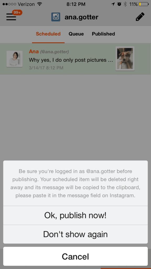 scheduling Instagram posts