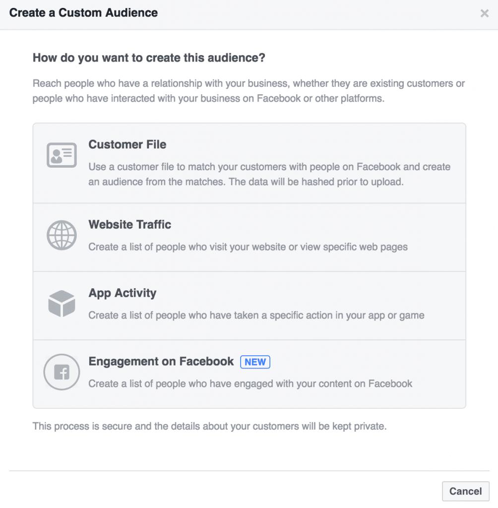 Create a Custom Audience Engagement on Facebook