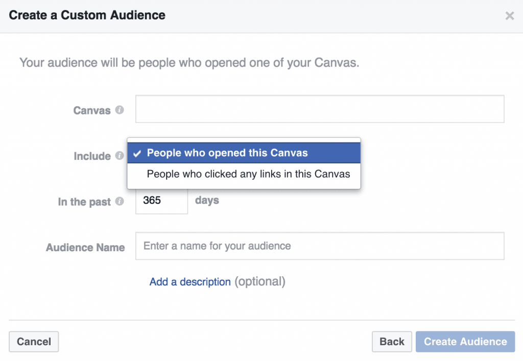 Engagement on Facebook Custom Audiences Canvas Engagement