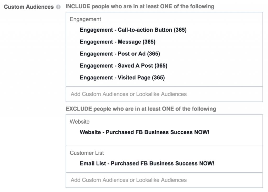 Engagement on Facebook Custom Audiences Combination