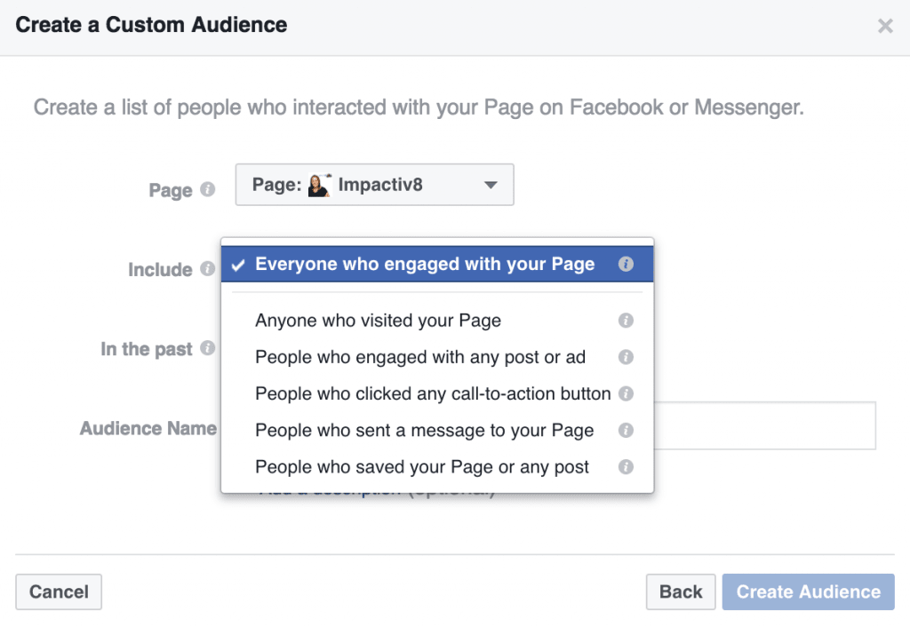 Engagement on Facebook Custom Audiences Page Engagement