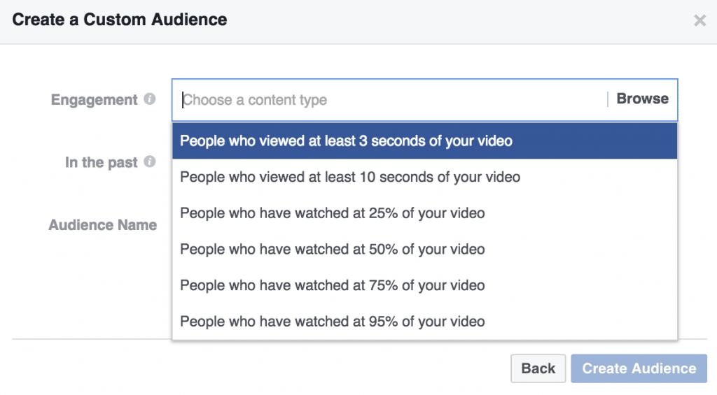 Engagement on Facebook Custom Audiences Video Engagement