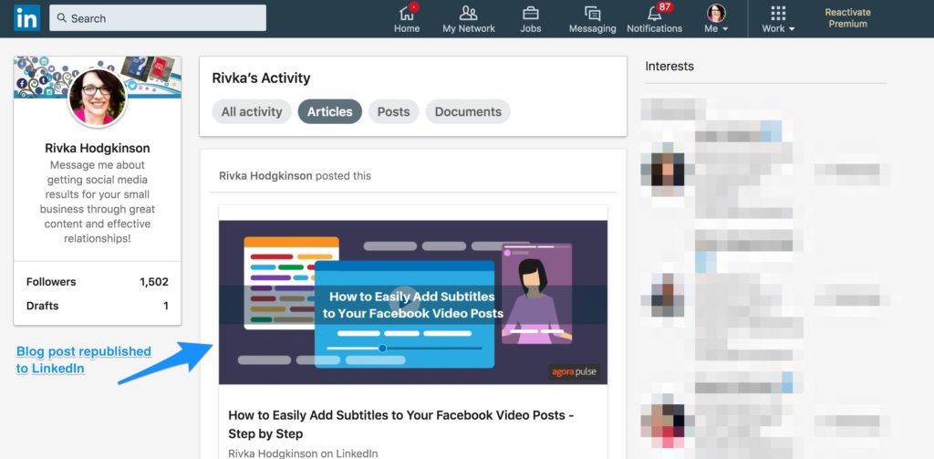 how to post articles on LinkedIn