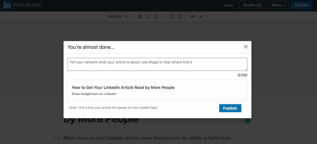 how to share your linkedin articles