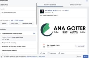 Facebook event strategies