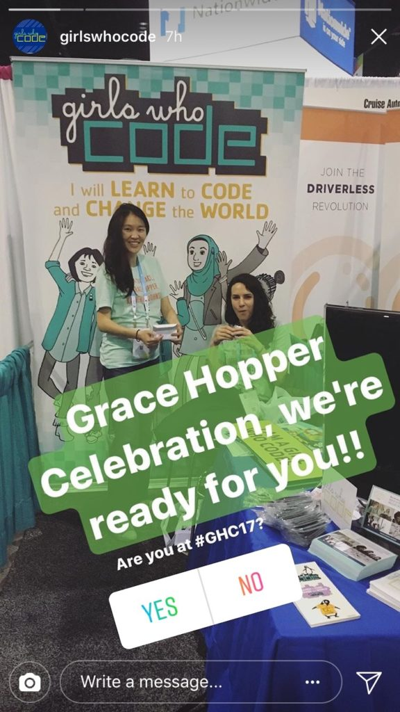 """Photo of women at a Girls Who Code event. Text on top of photo says: """"Grace Hopper Celebration, we're ready for you!!"""" The Poll sticker says: """"Are you at #GHC17?"""" with buttons to select YES or NO."""
