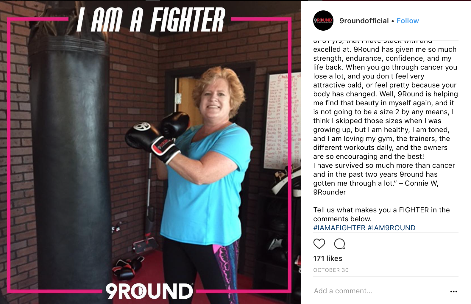 screenshot of instagram post with woman wearing boxing gloves that says I am a fighter with a pink ribbon and the 9 Round logo