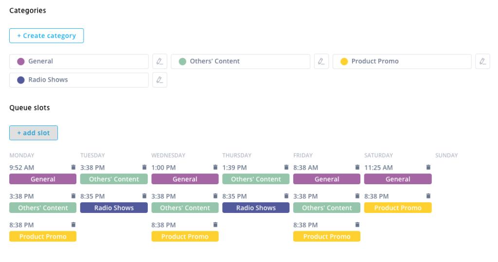 Screenshot of the Agorapulse queue for an example business of social media management