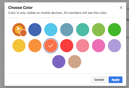 Keep my Facebook group alive: Choose the color that most closely represents your brand.