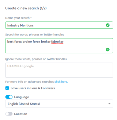 create a new search for social listening example