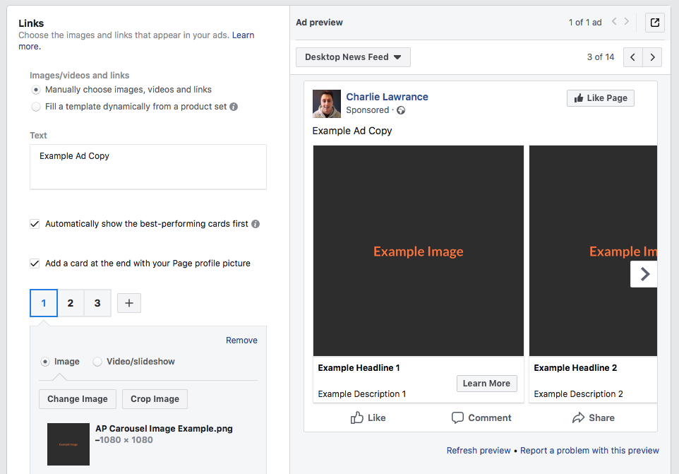 split test your Facebook ad creating a carousel ad images