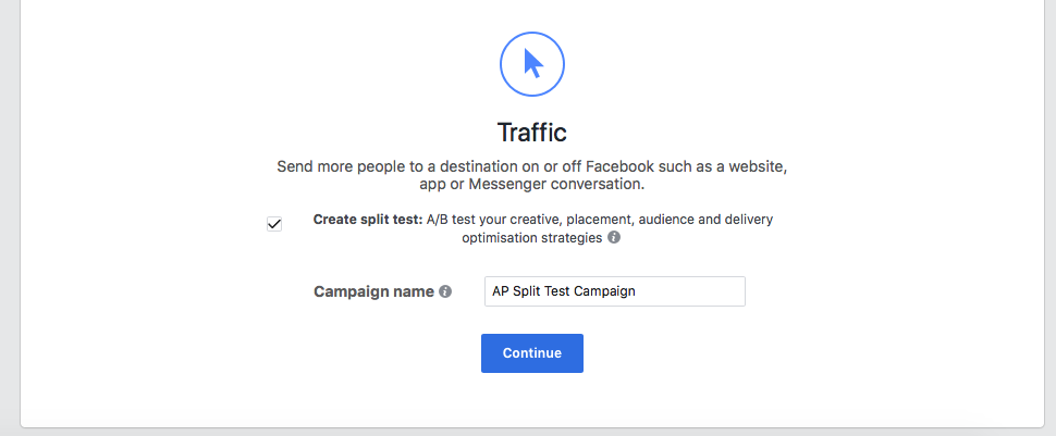 split test your Facebook ad -- Traffic Split Test Objective
