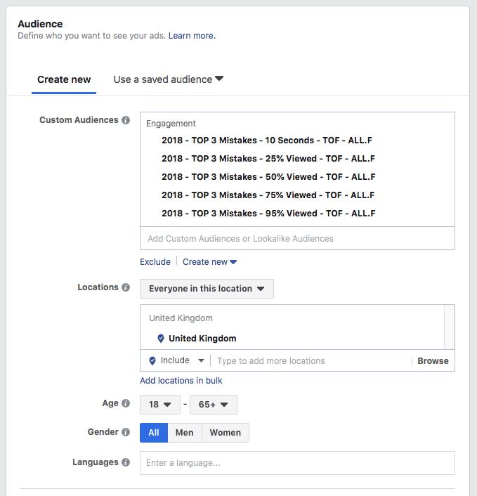split test your Facebook - Video custom audiences