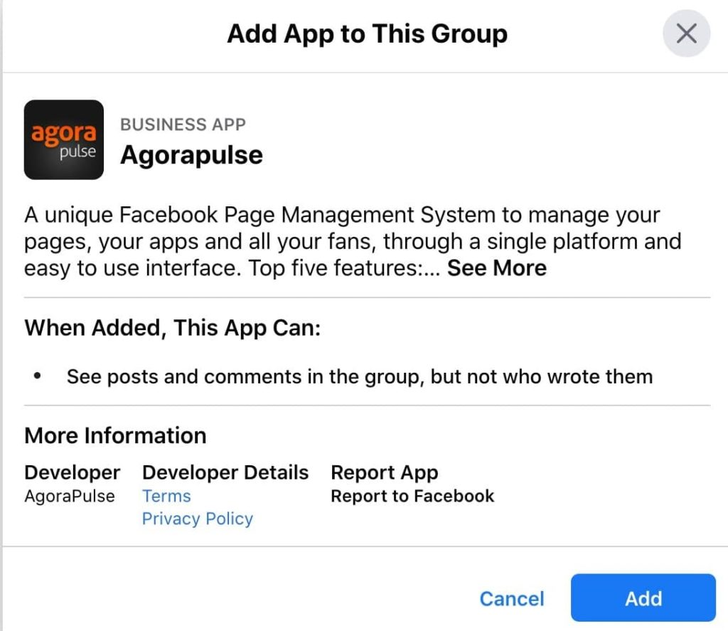 add app to this group is part of your post to facebook groups