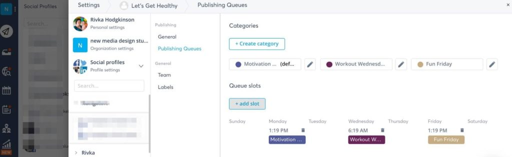 queues and categories for posting to your facebook group