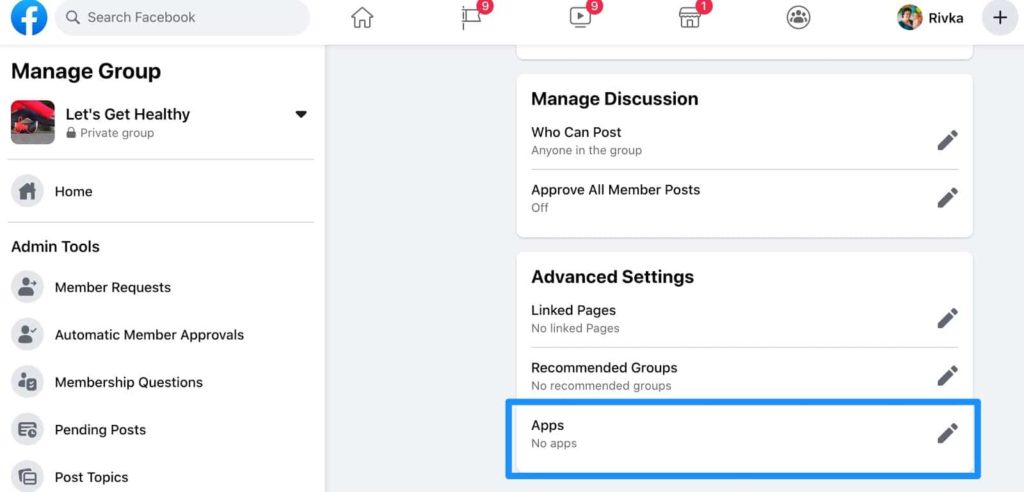 manage group and post to facebook groups via apps