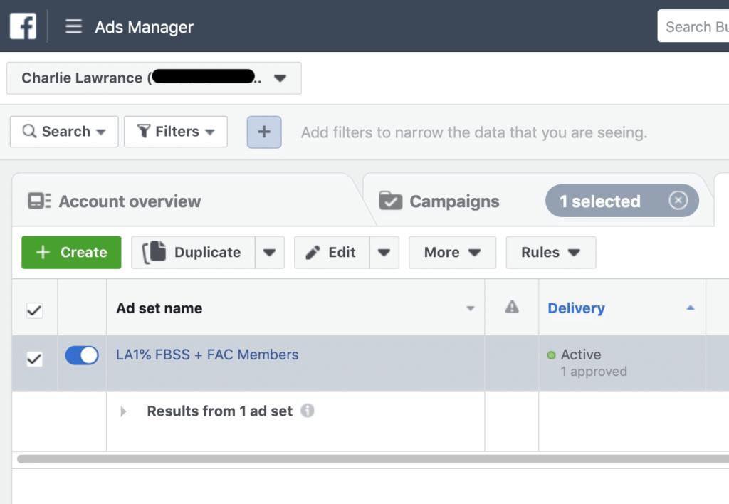 Facebook Ad Campaign Changes Ad Set Change