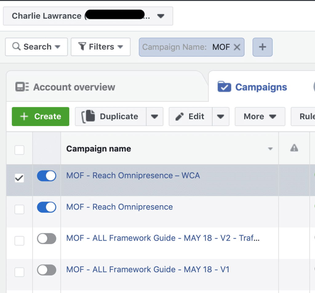 Facebook Ad Campaign Changes duplicate campaign