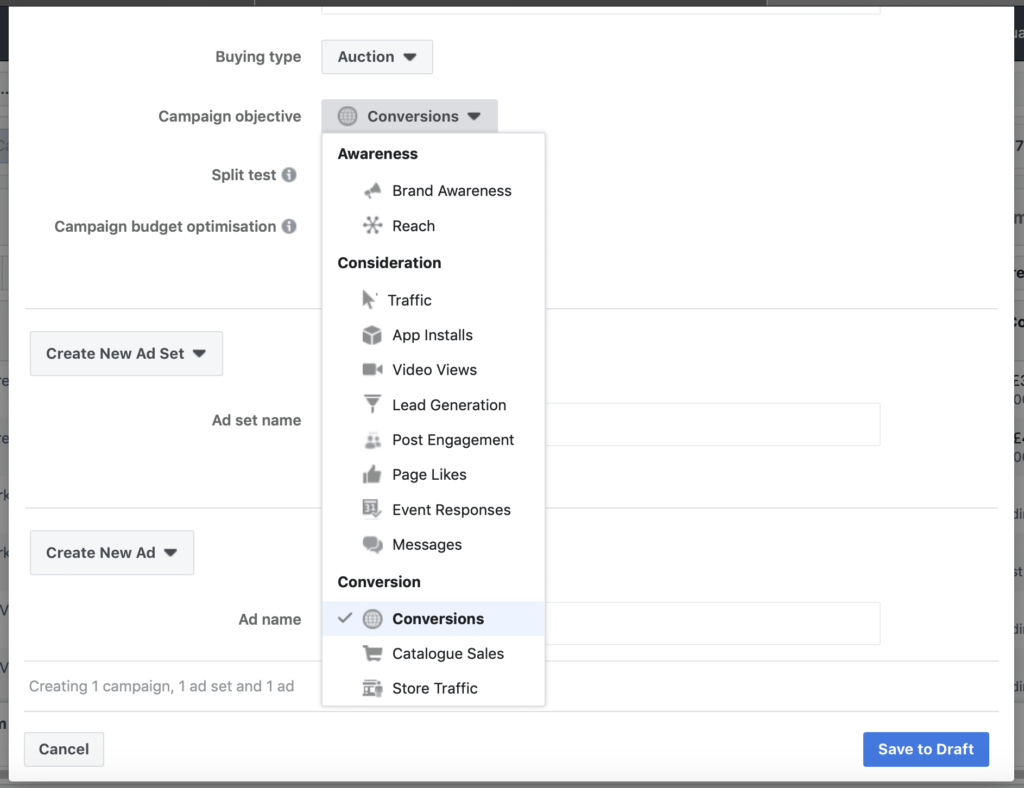 Facebook Ad Campaign Changes objective selection