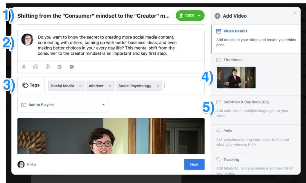 subtitles for Facebook videos steps