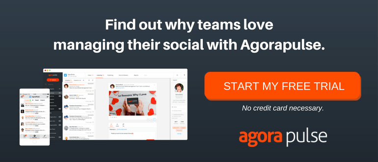 start free trial of social media management tool from Agorapulse
