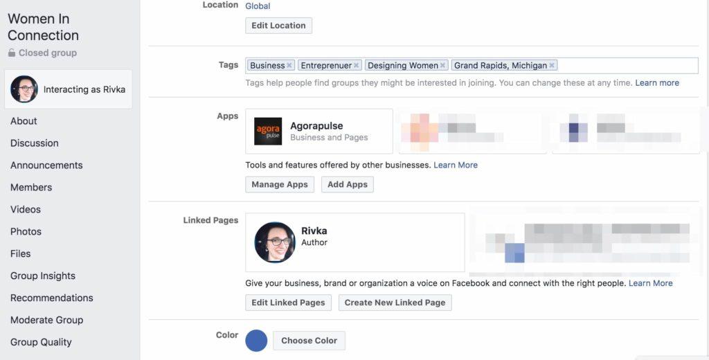 facebook group settings