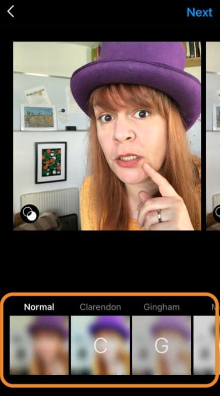 choose filter for your instagram carousel