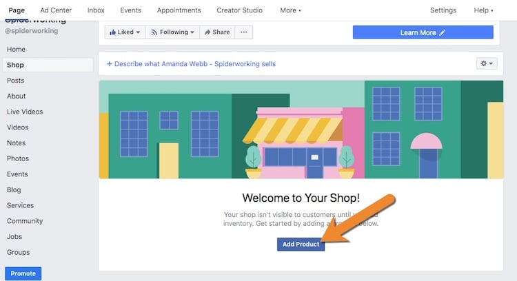 Add products to your Facebook shop so you can tag them in your Facebook posts.