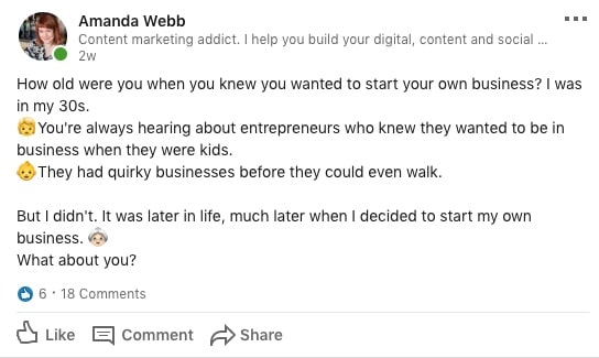 Use text only questions on social to drive conversations.
