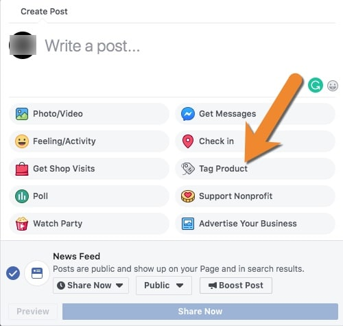 Tag products from your Facebook store in your posts.