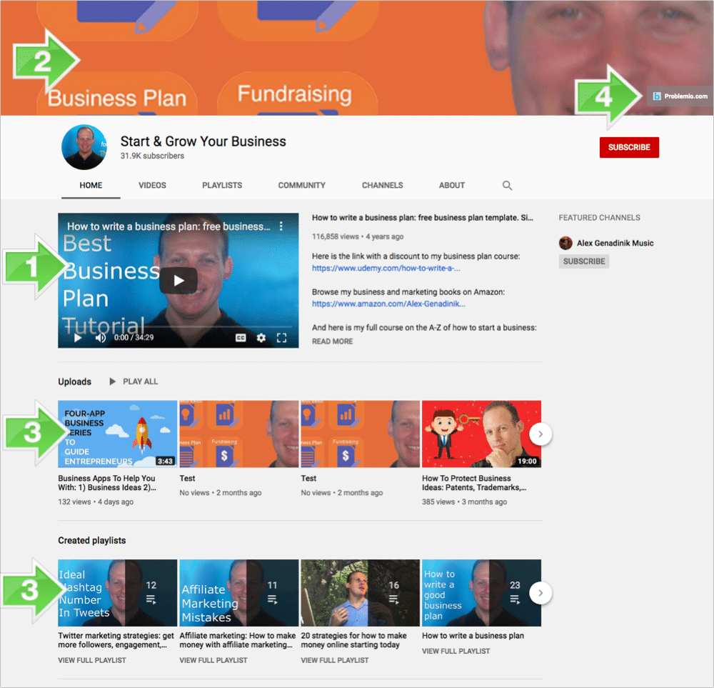 Customize channel to grow your business on youtube