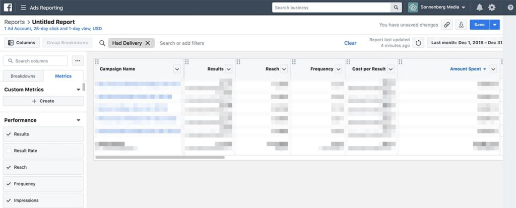 how to create a custom Facebook Ads report 2