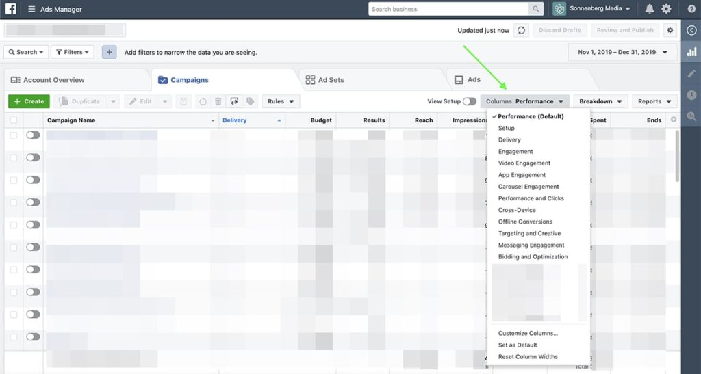 how to view default Facebook Ads layouts