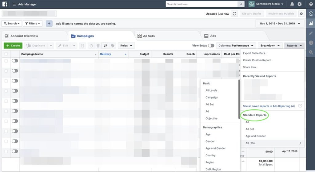 how to view default Facebook Ads reports
