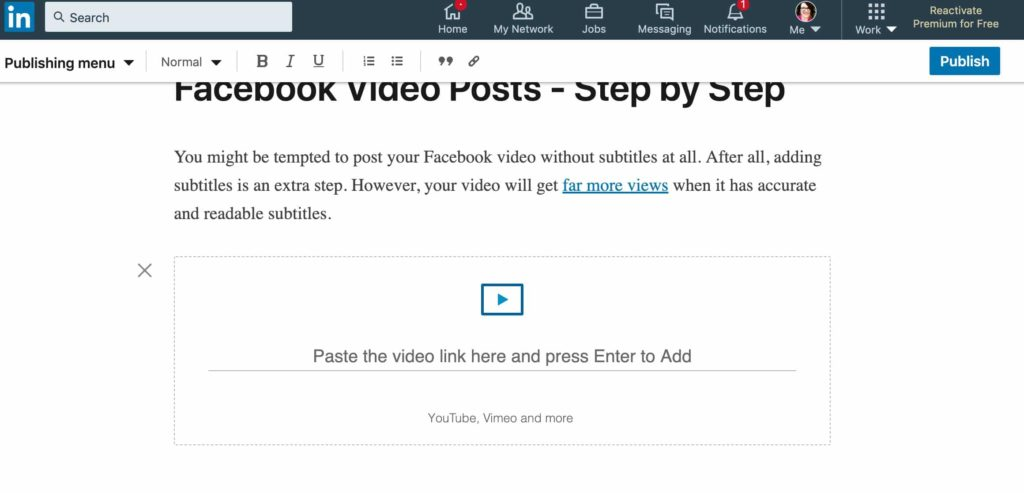 linkedin video sharing on facebook