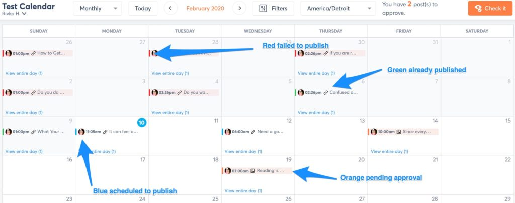 another example of a shared calendar