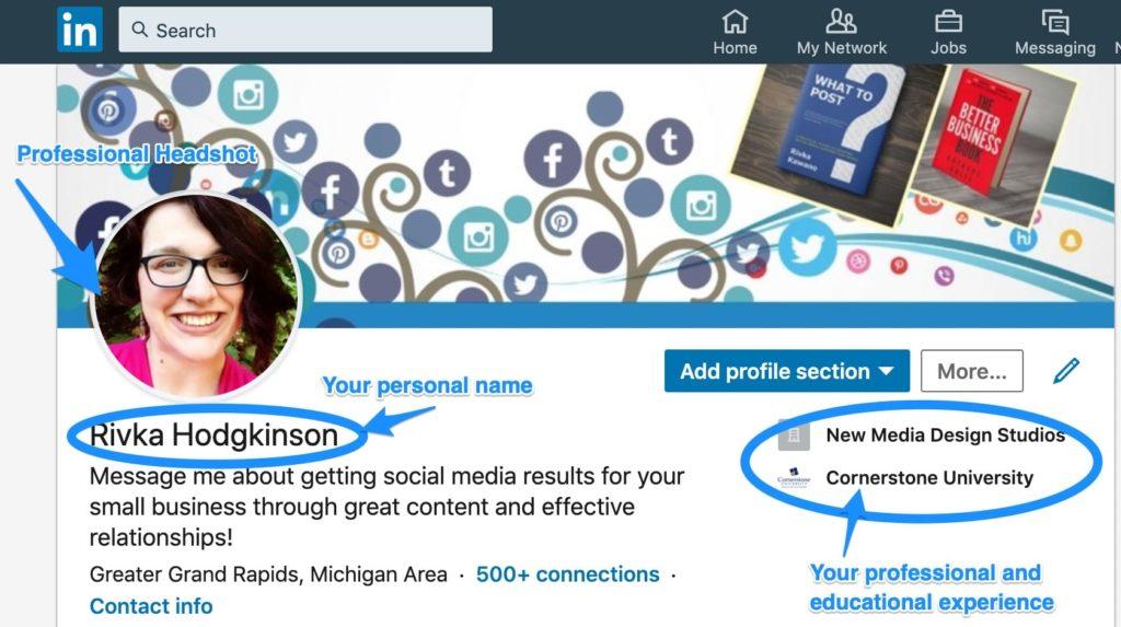 LinkedIn 101 member profile example