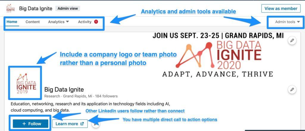 LinkedIn company page example