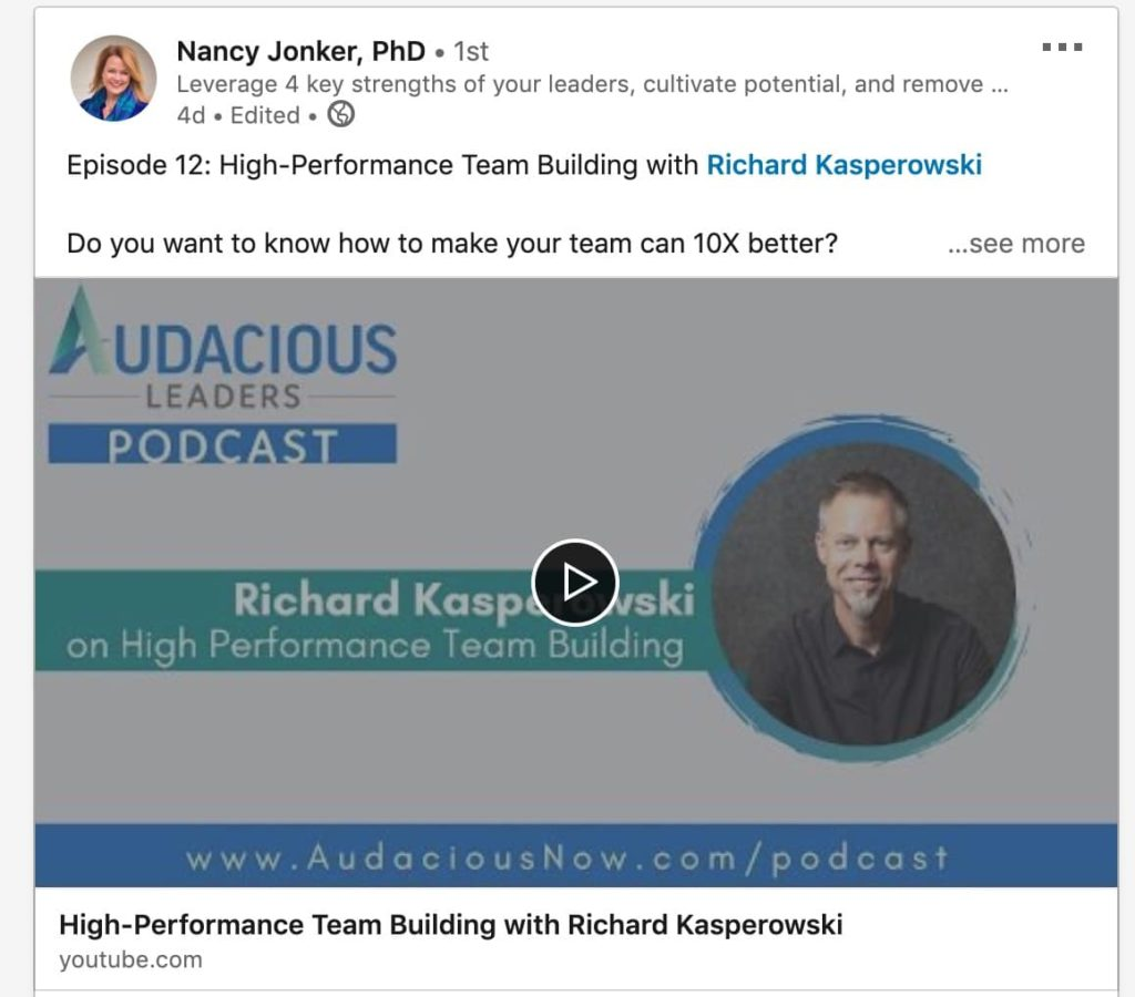 example of linkedin video sharing