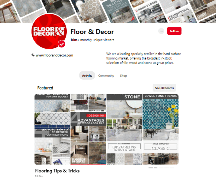 how floor & decor used pinterest for business and proved successful