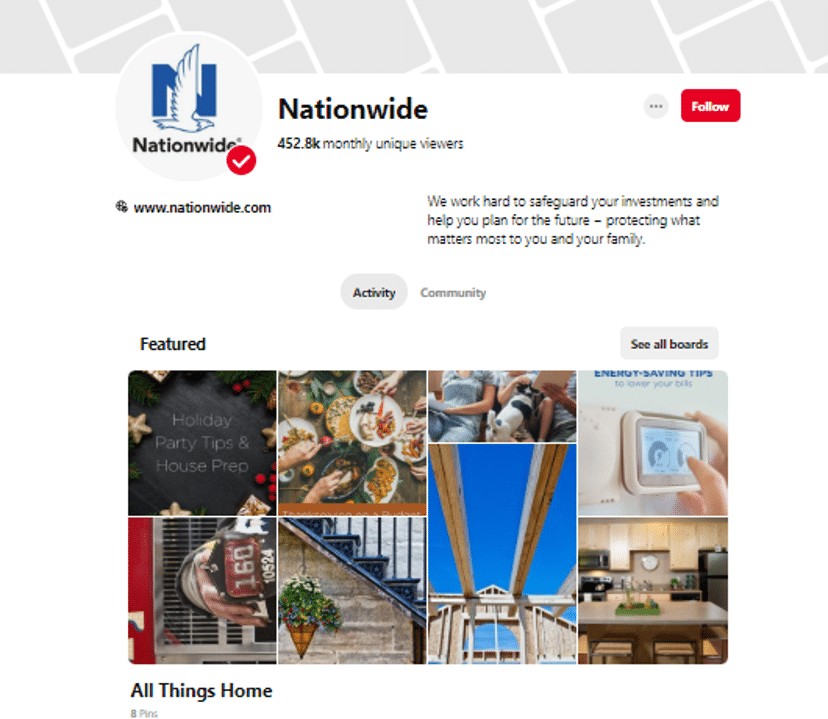 an example of how nationwide uses pinterest for business